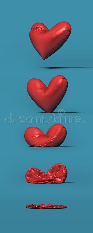 Proces van rode ballon in de vorm van hartslag - omhoog het 3d teruggeven stock illustratie