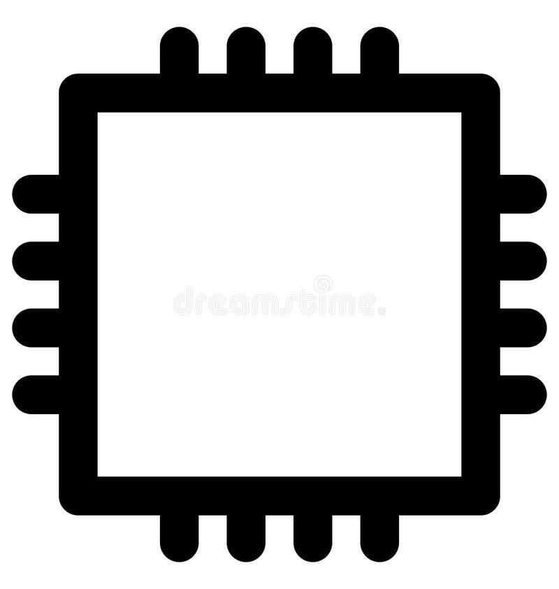 Procesador Chip Bold Line Icon que puede modificarse o corregir y colorear fácilmente también ilustración del vector