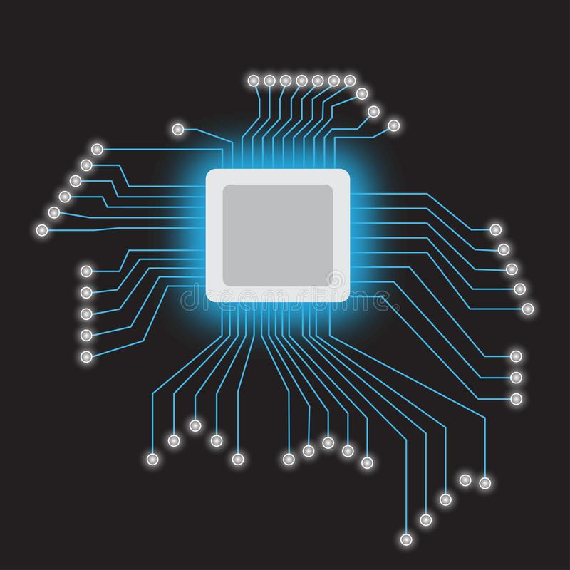 Procesador del microchip con las luces de neón en el fondo oscuro Ilustración del vector stock de ilustración