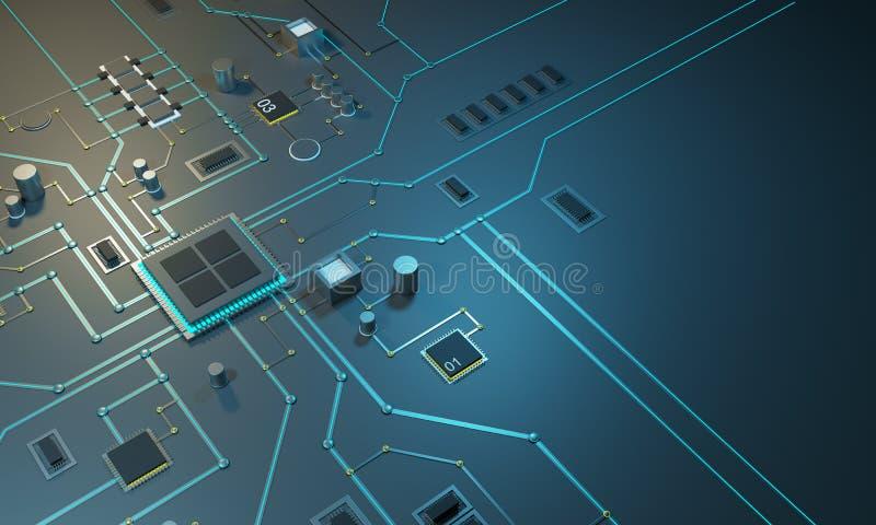 Procesador electrónico de alta tecnología de PCBwith, microchipes y señales electrónicas digitales que brillan intensamente stock de ilustración