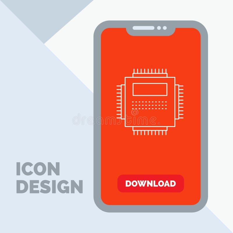 Procesador, hardware, ordenador, PC, línea icono de la tecnología en el móvil para la página de la transferencia directa stock de ilustración