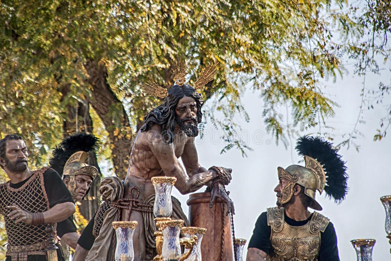 Procesión de la fraternidad del cigarro, semana santa en Sevilla imagenes de archivo