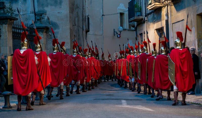 Procesión de Pascua en Tarragona, España fotografía de archivo