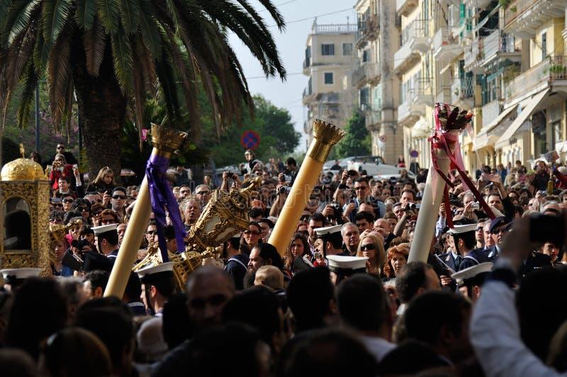Procesión del epitafio de Corfú foto de archivo