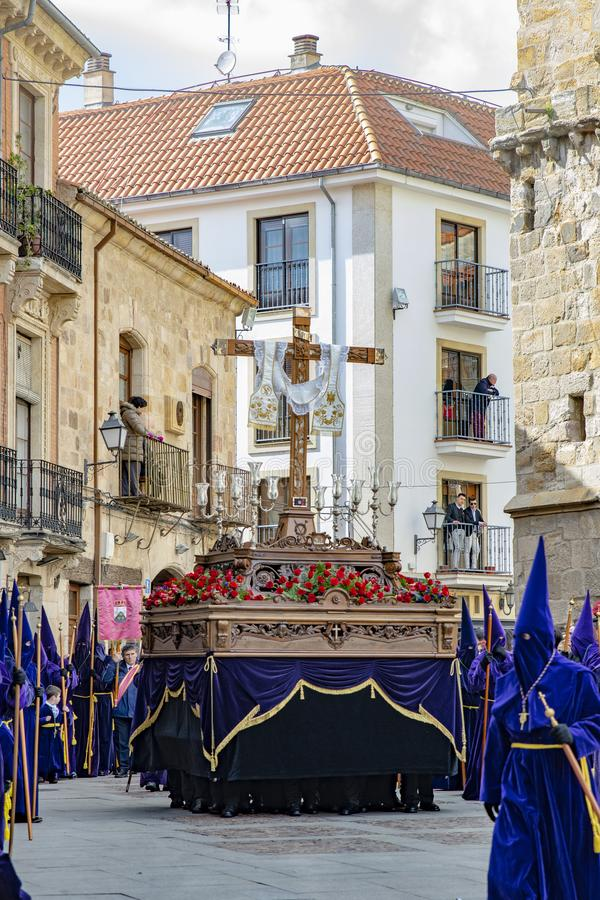 Procesión santa de jueves en Zamora, España imágenes de archivo libres de regalías