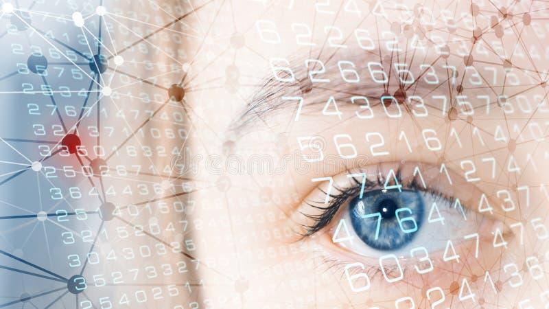 Proceso biométrico de los datos digitales, exploración del ojo humano imagen de archivo