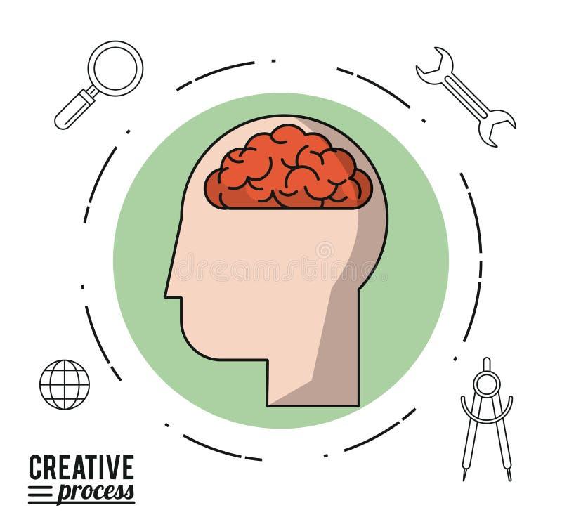 Proceso creativo del cartel colorido de la cara en círculo con el cerebro y los iconos alrededor libre illustration