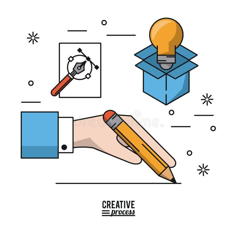 Proceso creativo del cartel colorido de la mano con el lápiz que hace la línea e iconos de bombilla en caja y fuente de cartón libre illustration