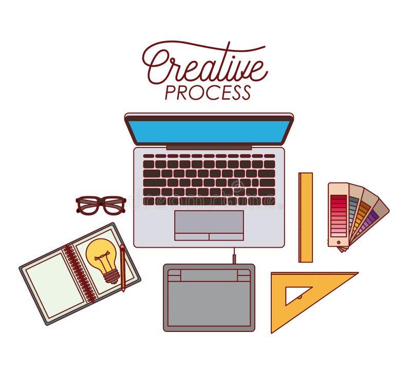 Proceso creativo del ordenador portátil con diseño gráfico de los elementos en el fondo blanco ilustración del vector