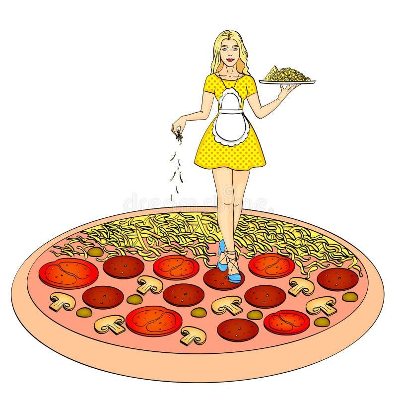 Proceso de cocinar la pizza Objeto aislado en el fondo blanco ilustración del vector