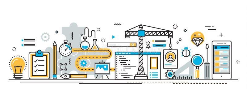 Proceso de construcción del desarrollo de aplicación móvil para el sitio web ilustración del vector