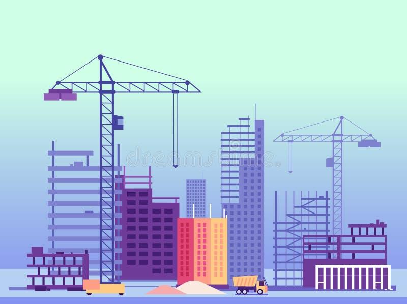 Proceso de construcción Edificios y máquinas inacabados de la construcción Ilustración del vector stock de ilustración