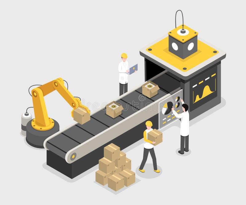 Proceso de empaquetado autónomo, etapa de la asamblea final Tecnología robótica que apila las cajas con mercancía producida libre illustration