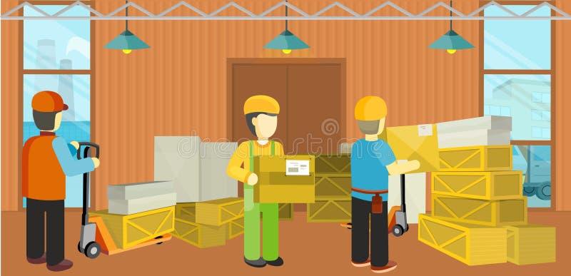 Proceso de entrega del equipo del almacén unloading libre illustration