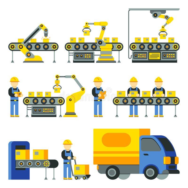 Proceso de fabricación con la línea iconos planos de la fábrica de la producción del vector ilustración del vector
