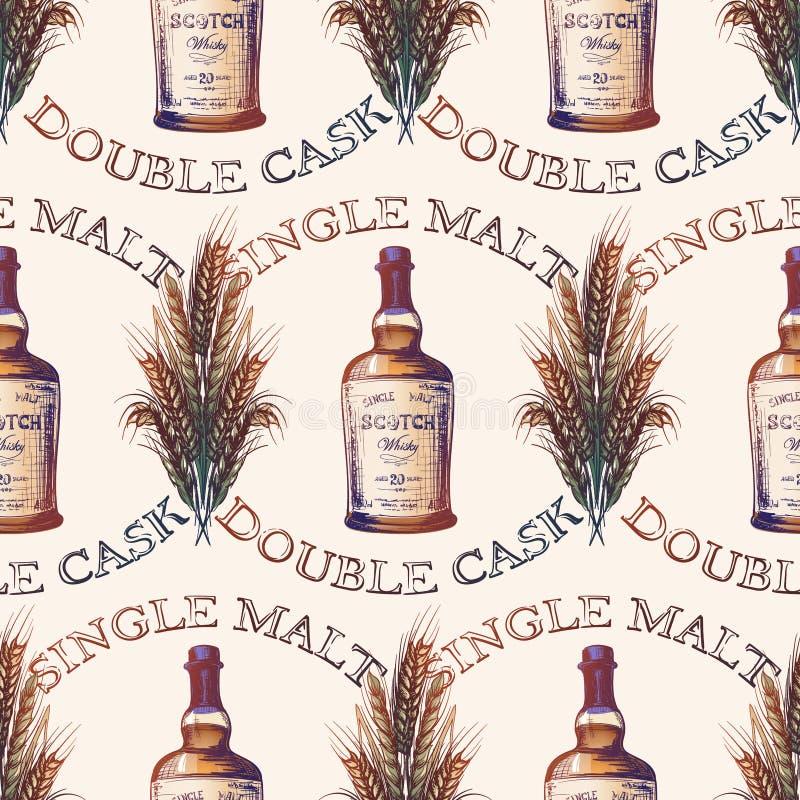 Proceso de fabricación del whisky del grano a embotellar Botella de whisky escocés con algunos oídos y granos de la cebada Modelo stock de ilustración