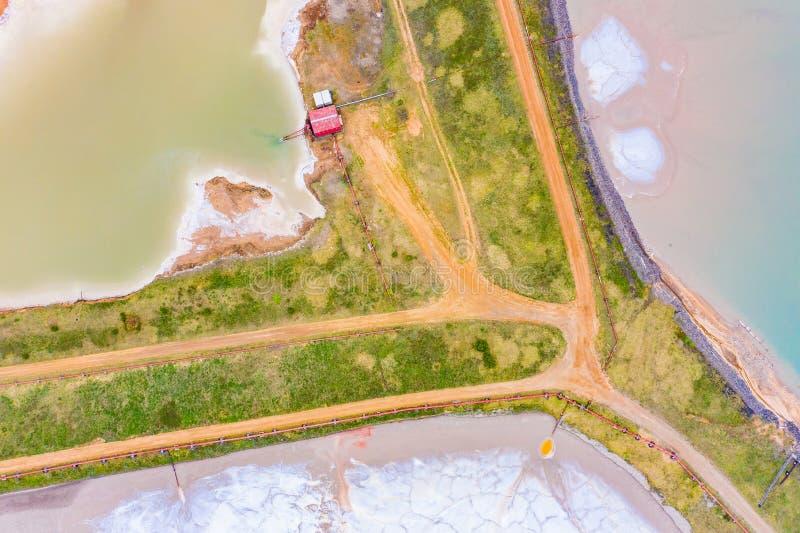 Proceso de la excavación de la sal del potasio, visión aérea Desastre ecol?gico imagenes de archivo