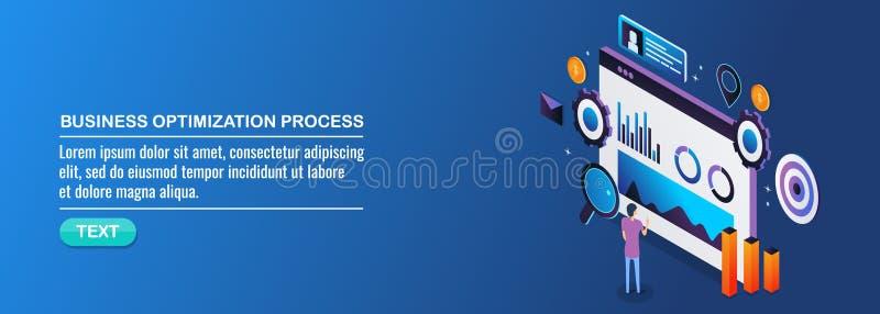 Proceso de la optimización del negocio, márketing digital, datos, análisis de la información, compromiso del cliente, concepto de stock de ilustración