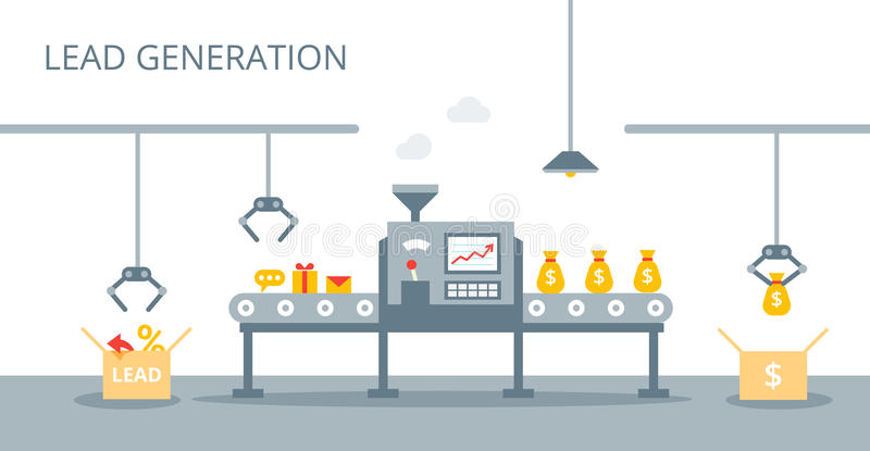 Proceso de la producción de las ventajas en la banda transportadora Concepto del márketing en estilo plano Concepto de la generac libre illustration