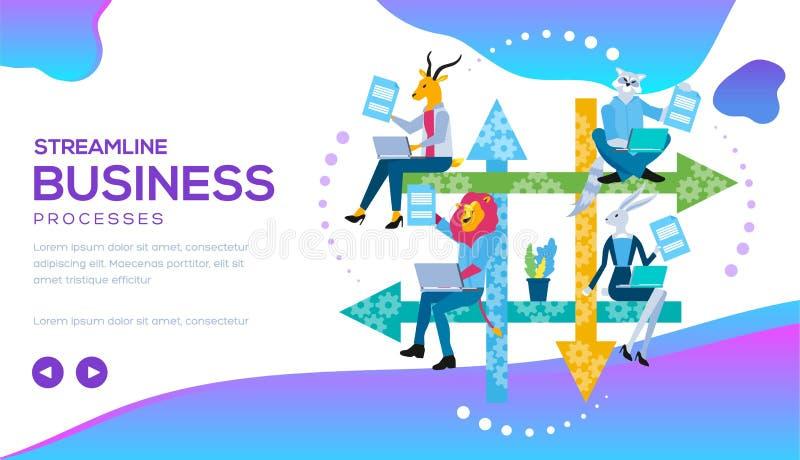 Proceso de negocio aerodinámico con flujos de trabajo, CRM libre illustration
