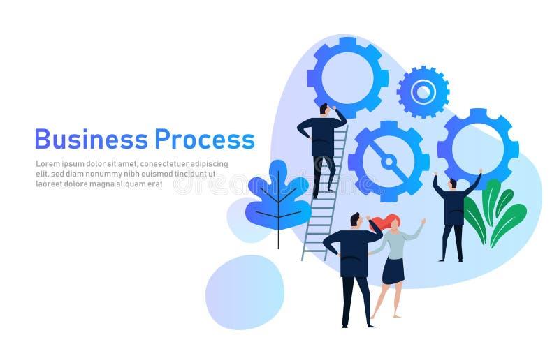 Proceso de negocio Concepto de diseño plano para la formación de equipo Manos con los engranajes cooperación que trabaja junto en stock de ilustración