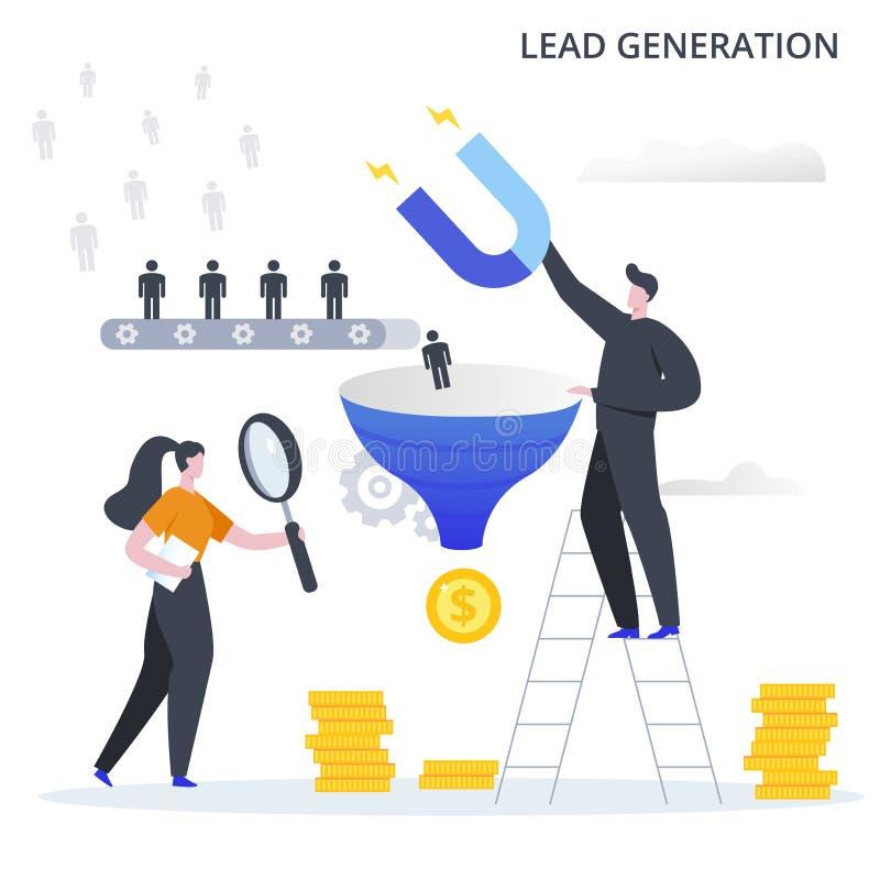 Proceso de negocio de generación de clientes potenciales El proceso de atraer clientes potenciales al embudo de ventas y benefici ilustración del vector