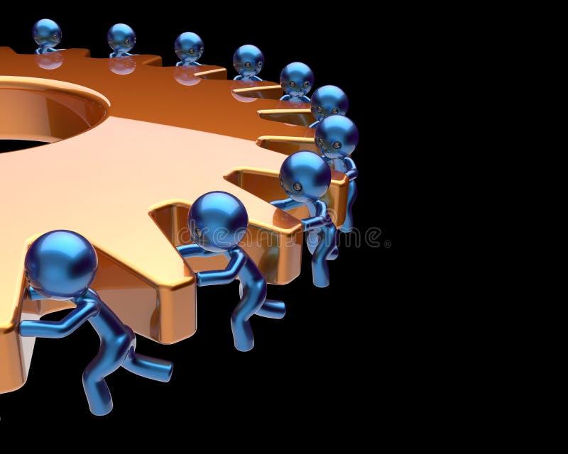 Proceso de negocio de la rueda dentada de la rueda dentada de la sociedad del trabajo en equipo ilustración del vector