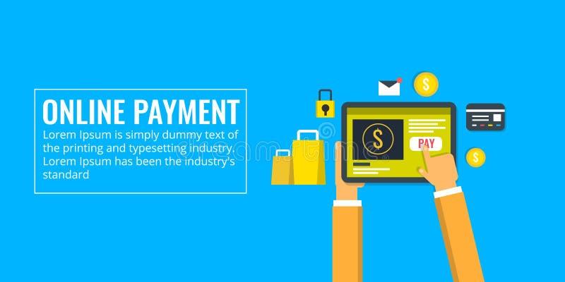 Proceso de pago en línea, e-pago, uso, transferencia monetaria, compras, concepto del comercio electrónico Bandera plana del vect libre illustration