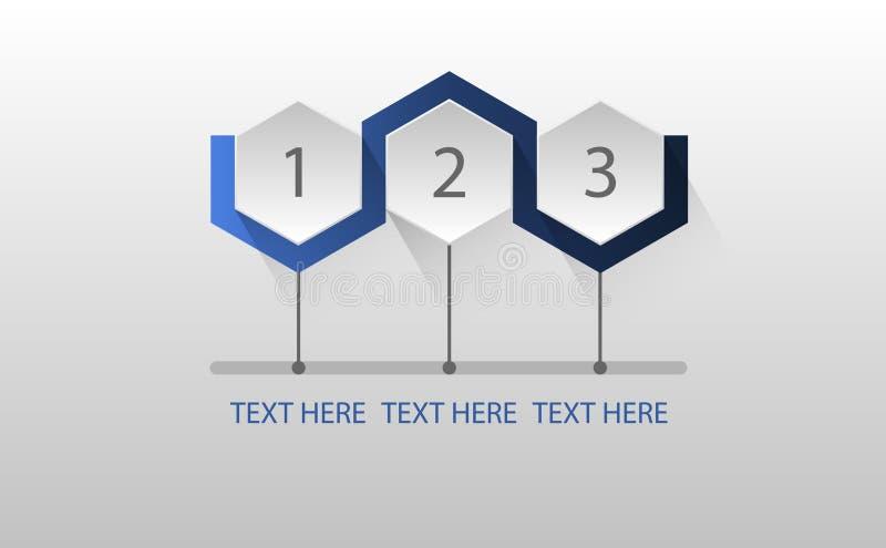 Proceso de paso de tres hexagonal de Infographic ilustración del vector