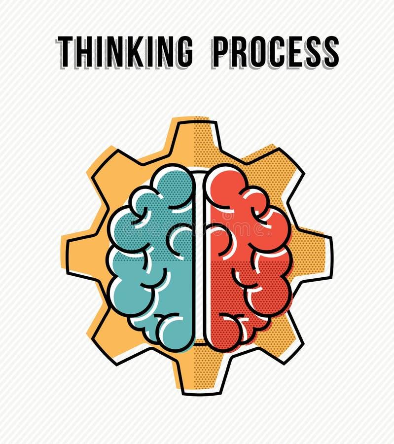 Proceso de pensamiento en el diseño de concepto del lugar de trabajo stock de ilustración
