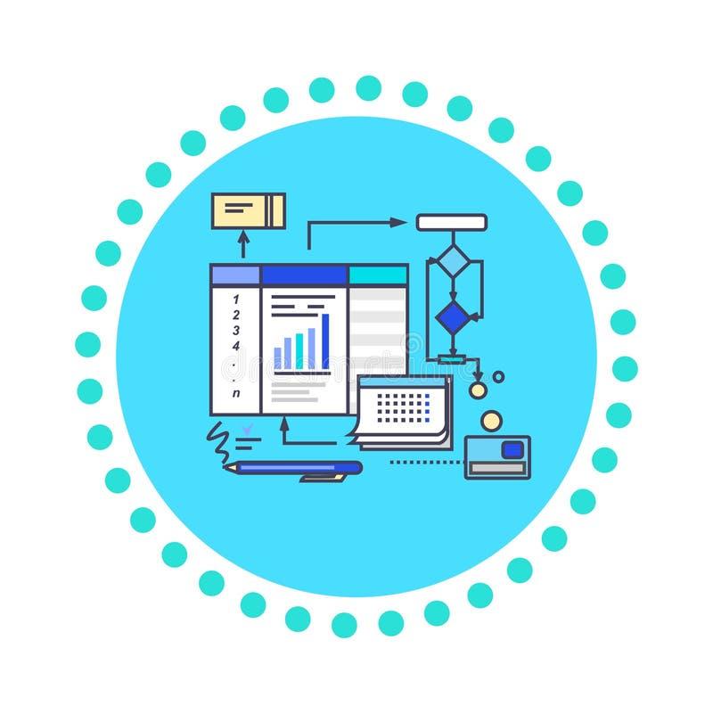 Proceso de trabajo del diseño plano del estilo del icono ilustración del vector
