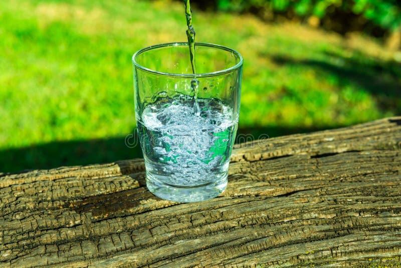 Proceso de verter el agua clara pura en un vidrio del top, registro de madera, hierba verde en el fondo, al aire libre, salud, hi imagenes de archivo