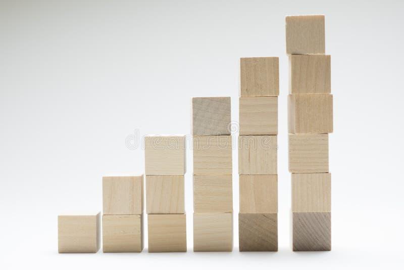 Proceso del éxito del crecimiento del concepto del negocio usando los cubos de madera que apilan para arriba fotos de archivo