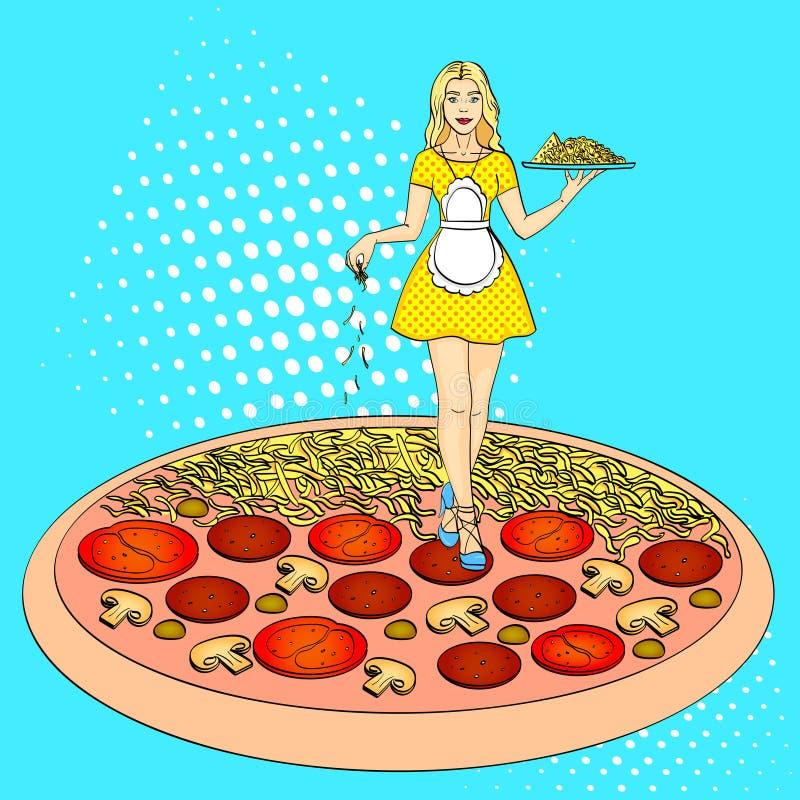 Proceso del arte pop de cocinar la pizza Imitación del estilo del cómic Estilo retro de la vendimia ilustración del vector