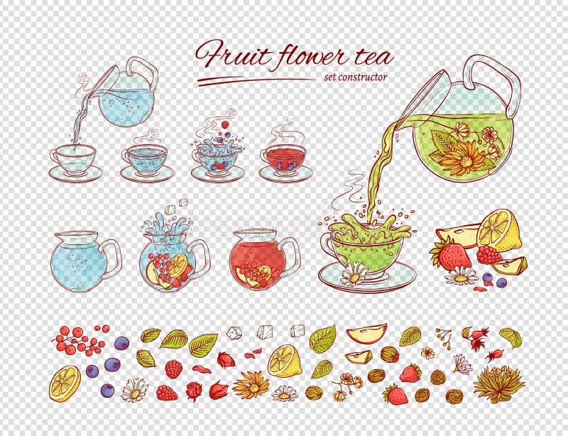 Proceso del brebaje de las frutas de las flores del constructor del té del vector Haga y vierta la bebida aromática caliente o fr libre illustration