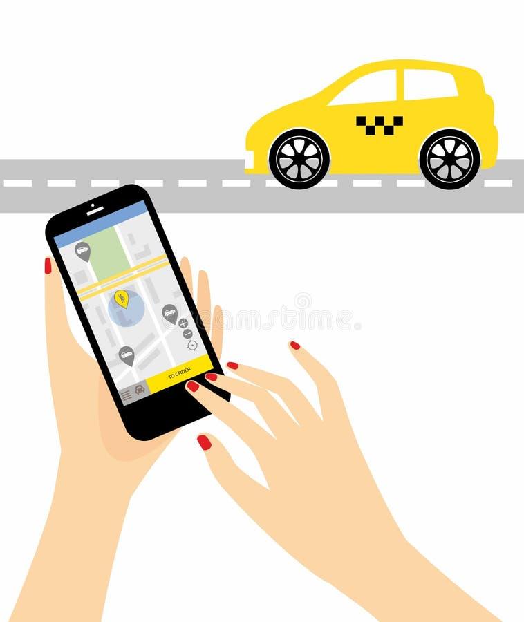 Proceso del concepto del ejemplo del taxi de la reservación vía el app móvil libre illustration