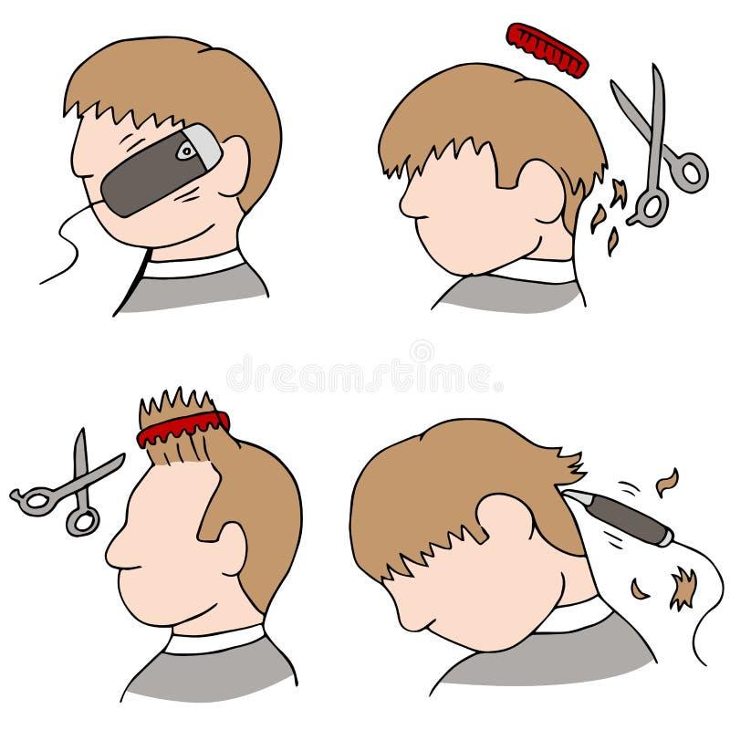 Proceso del corte de pelo stock de ilustración