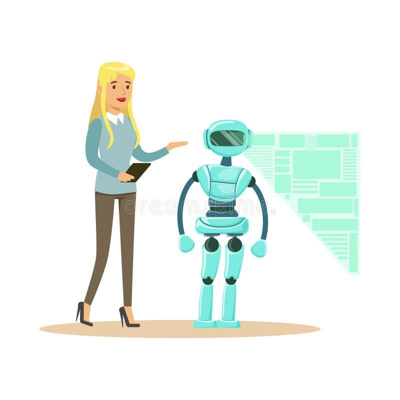 Proceso del robot del humanoid en su tableta, concepto futuro de la visualización del ingeniero que controla de sexo femenino jov ilustración del vector