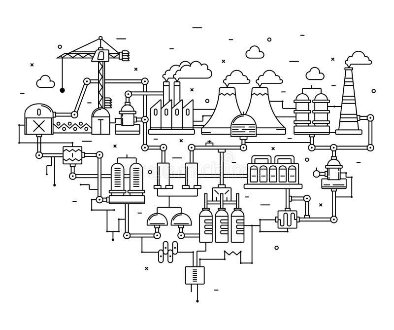 Proceso industrial de la tecnología de la fábrica con concepto de la ecología Línea fina Estilo plano Línea arte stock de ilustración