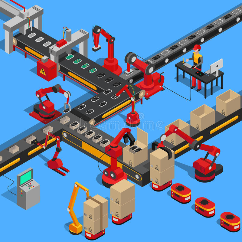 Proceso industrial del transportador de producir técnica stock de ilustración