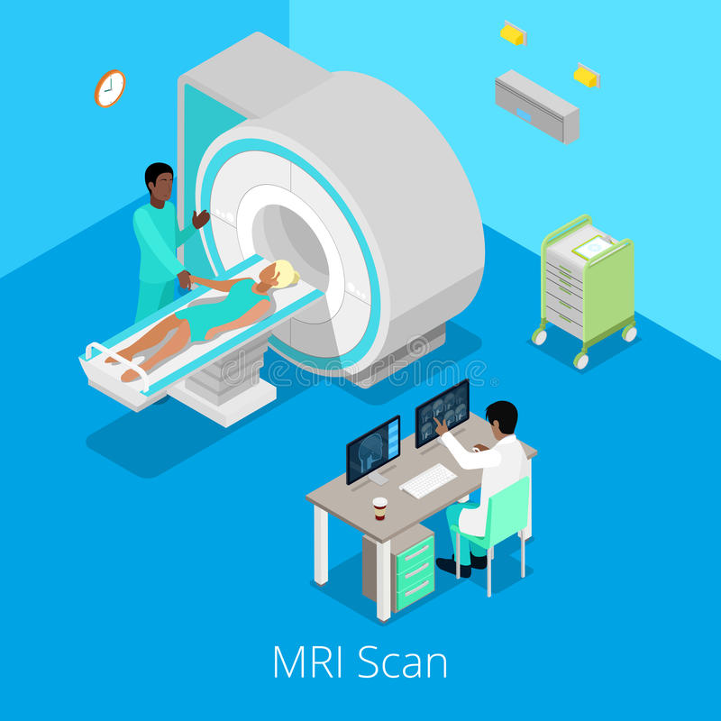 Proceso médico isométrico de la proyección de imagen del escáner de MRI con el doctor y el paciente libre illustration