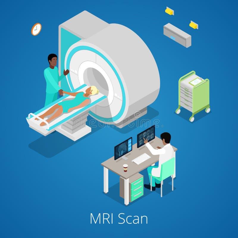 Proceso médico isométrico de la proyección de imagen del escáner de MRI con el doctor y el paciente stock de ilustración