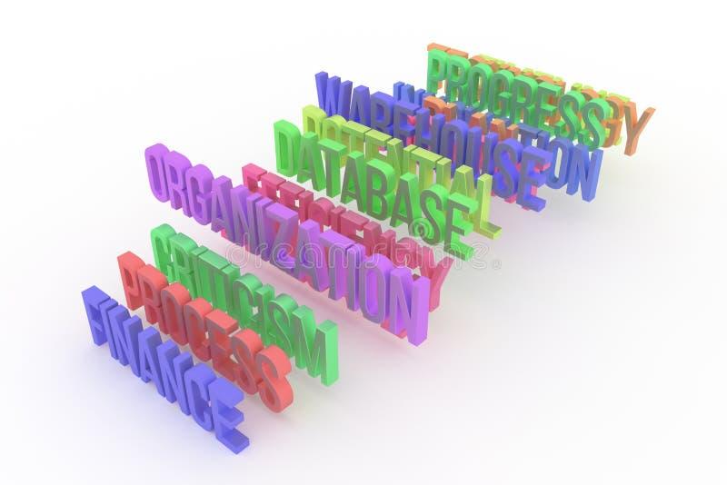 Proceso, organización y finanzas, palabras coloridas conceptuales 3D del negocio Contexto, papel pintado, extracto y tipografía stock de ilustración