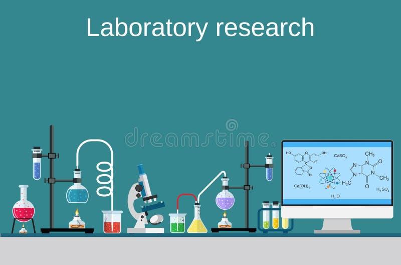 Proceso químico de la investigación del ordenador de la tabla del técnico de laboratorio ilustración del vector