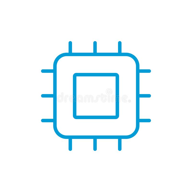 Procesor liniowa ikona sedno Cienka kreskowa ilustracja Układ scalony, zestaw chipów Wektoru konturu odosobniony rysunek Editable ilustracji