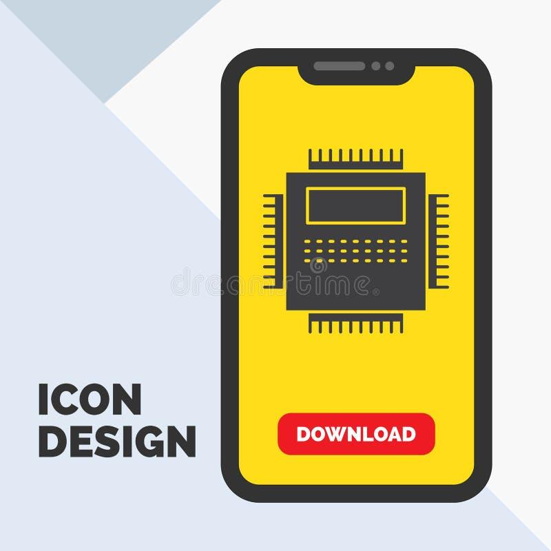 Procesor, narzędzia, komputer, pecet, technologia glifu ikona w wiszącej ozdobie dla ściąganie strony ? royalty ilustracja