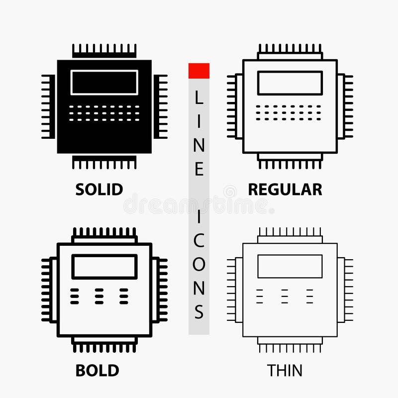 Procesor, narzędzia, komputer, pecet, technologii ikona w linii i glifu stylu Cienkiej, Miarowej, Śmiałej, r?wnie? zwr?ci? corel  royalty ilustracja