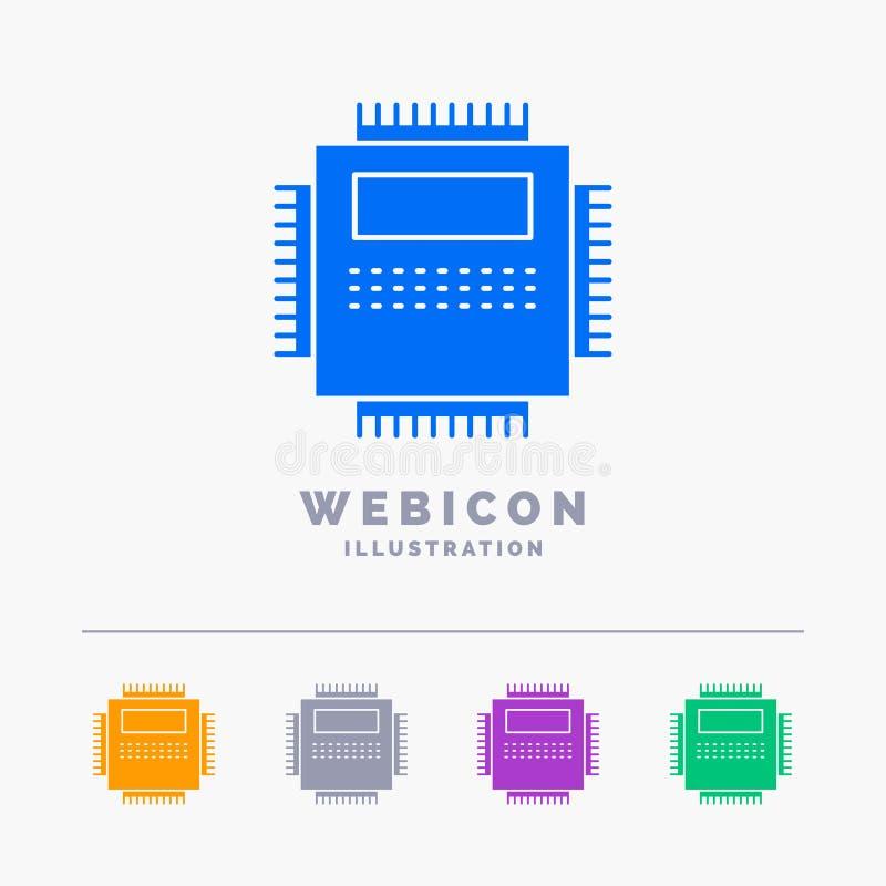 Procesor, narzędzia, komputer, pecet, technologii 5 koloru glifu sieci ikony szablon odizolowywający na bielu r?wnie? zwr?ci? cor ilustracja wektor