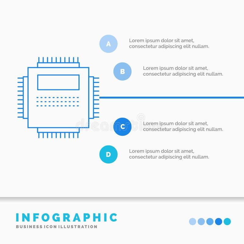 Procesor, narz?dzia, komputer, pecet, technologii Infographics szablon dla strony internetowej i prezentacja, Kreskowej B??kitnej ilustracja wektor