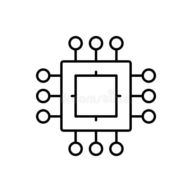 Procesor, układ scalony ikona - wektor sztuczna inteligencja royalty ilustracja